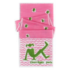 COURREGES c.1970's Pink & Green Yoga Beach Girl Wrap Scarf