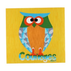 COURREGES c.1970's Andrianna Shamaris Pop Art Watercolor Owl Poplin Square Scarf