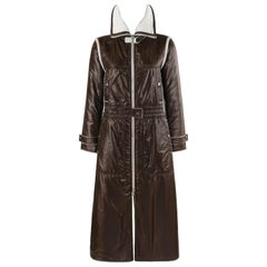 COURREGES c.1970's Brown White Convertible Collar Full-Length Coat Jacket