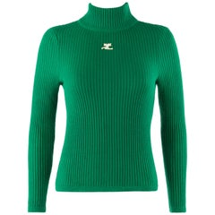 COURREGES c.1970's Green Ribbed Knit Mock Neck Fitted Sweater