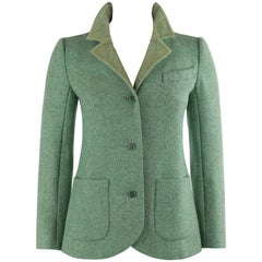 COURREGES c.1970's Green Wool Mohair Tweed Corduroy Button Front Blazer Jacket