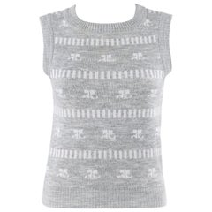 COURREGES c.1970's Grey & White Logo Signature Print Knit Sweater Vest