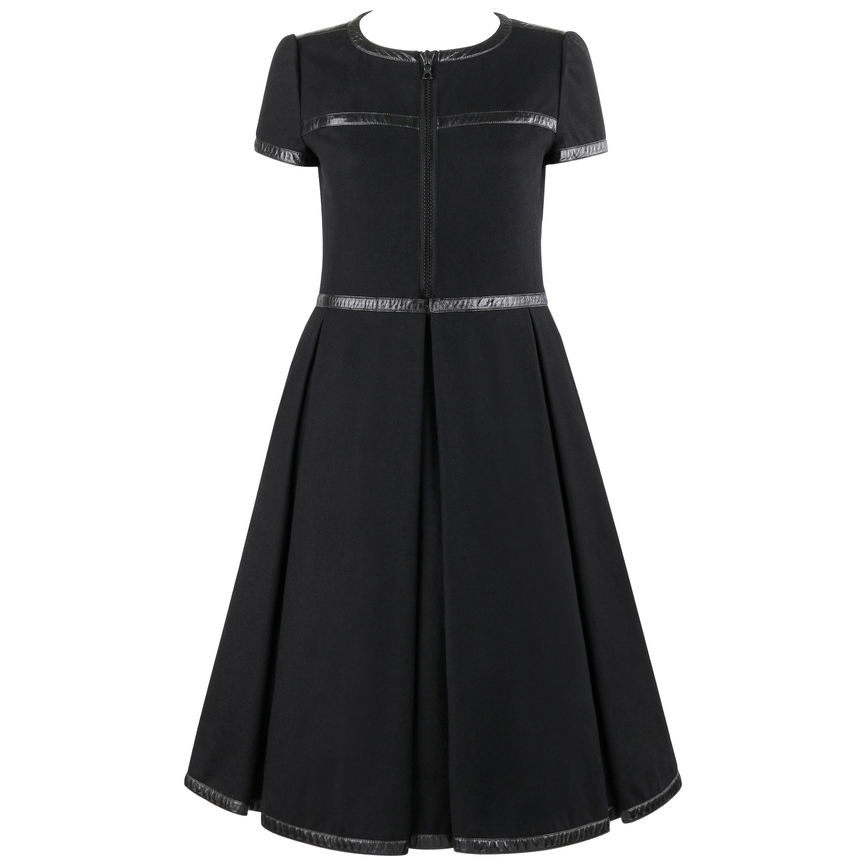 COURREGES c.1970's Hyperbole Black Short Sleeve Box Pleat Fit n Flare Tea Dress
