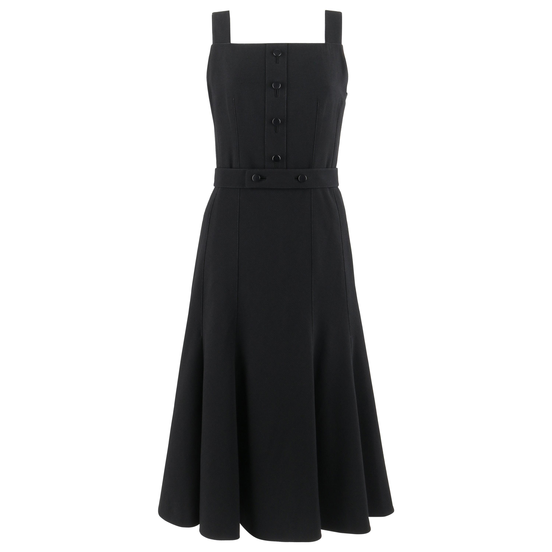 COURREGES c.1970's Hyperbole Black Sleeveless Belted Fit Flare Midi Tea Dress