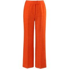 COURREGES c.1970's Hyperbole Bright Orange High Rise Wide Leg Trouser Pants