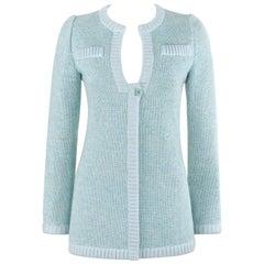 COURREGES c.1970's Hyperbole Mint Blue Knit V-Neck Long Sleeve Cardigan Sweater