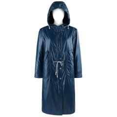COURREGES c.1970's Hyperbole Navy Blue Drawstring Windbreaker Parka Raincoat