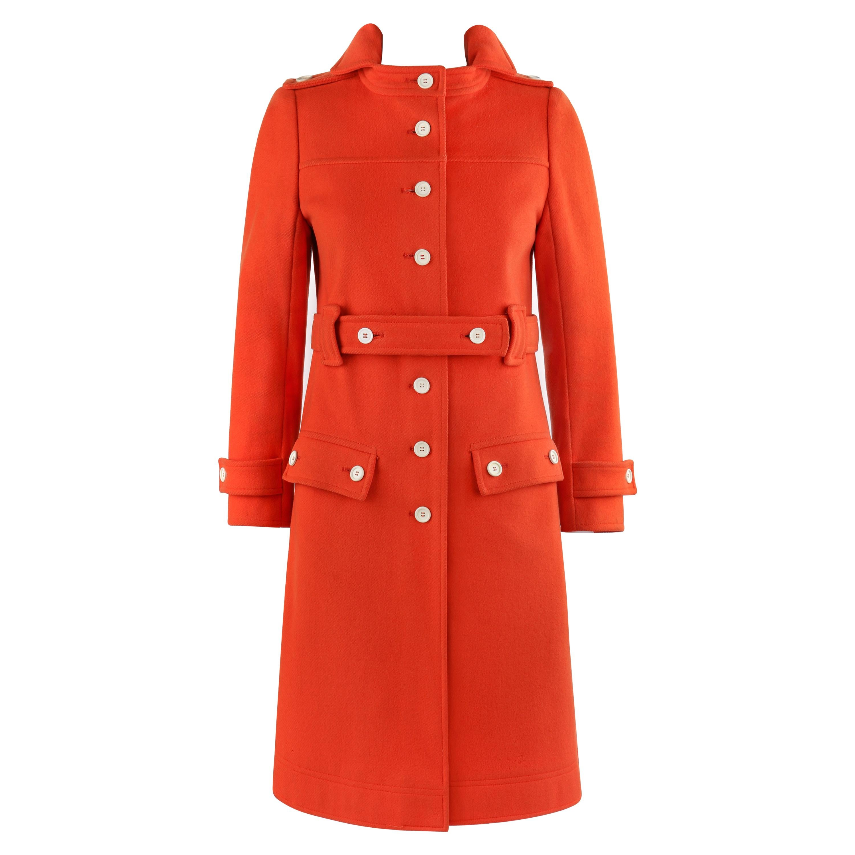 COURREGES c.1970's Hyperbole Orange Belted Button Front Coat Overcoat Numbered