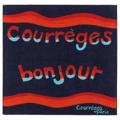 "COURREGES c.1970's Orange Blue Red ""Courreges Bonjour"" Paris Print Square Scarf"