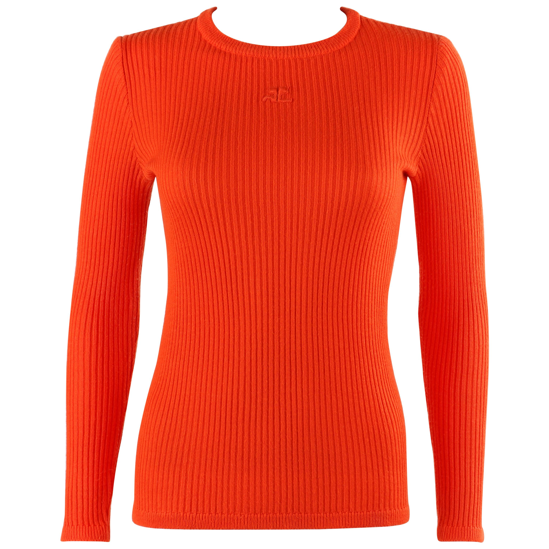COURREGES c.1970's Orange Rib Knit Embroidered Signature Logo Crew Neck Sweater