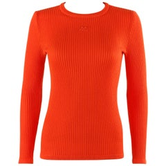 COURREGES c.1970's Orange Rib Knit Embroidered Signature Logo Crew Neck Sweater