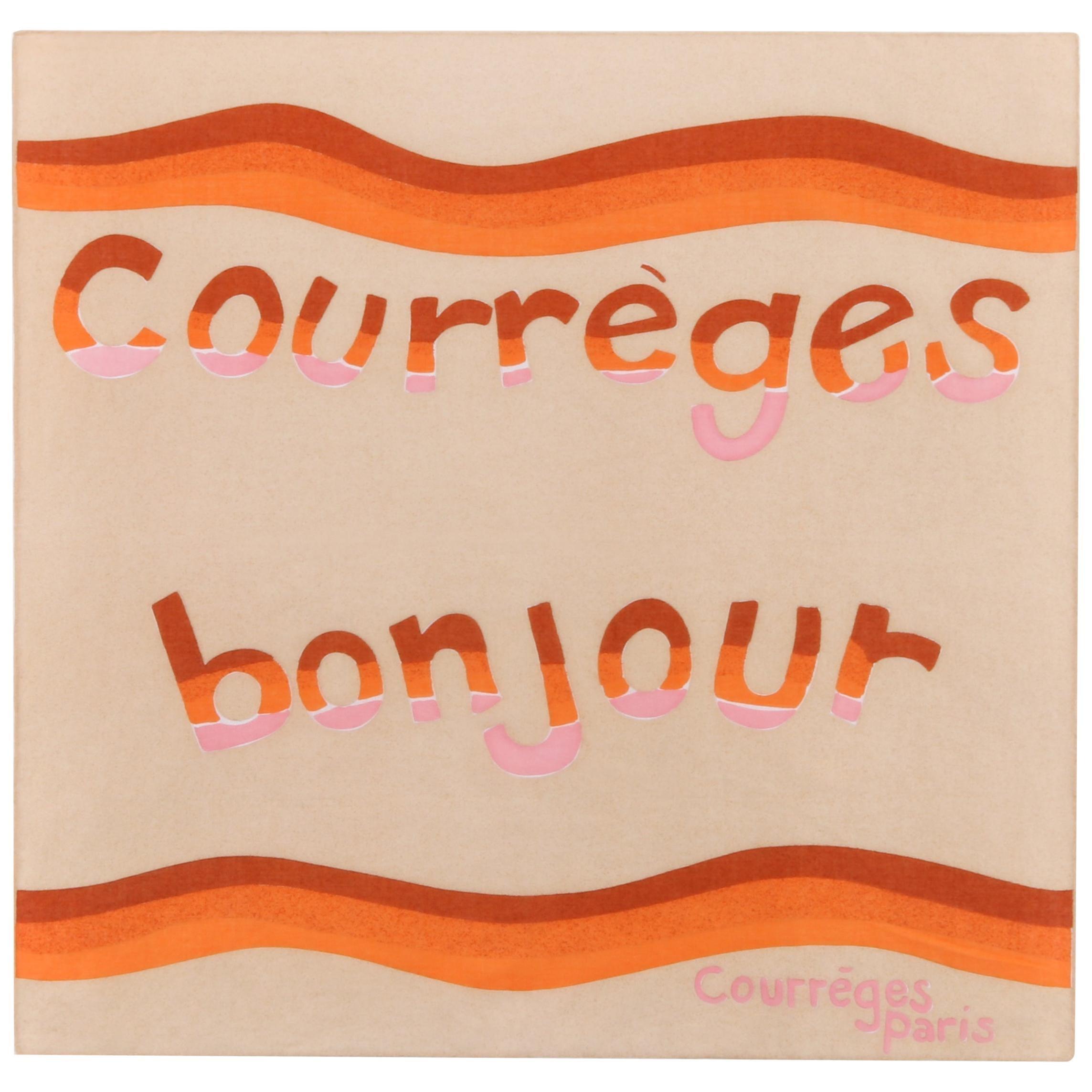 """COURREGES c.1970's Pink Tan Orange """"Courreges Bonjour"""" Paris Square Scarf"""