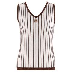 COURREGES c.1970's Sleeveless V-Neck Striped Knit Sweater Vest Tank Top