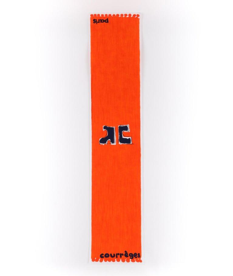COURREGES c.1970s Trompe L'oeil Orange Blue Signature Logo Painting Oblong Scarf   Brand/Manufacturer: Courreges Circa: 1970s Designer: Andre Courreges Style: Oblong scarf Color(s): Shades of blue, orange, white Lined: No Marked Fabric Content: