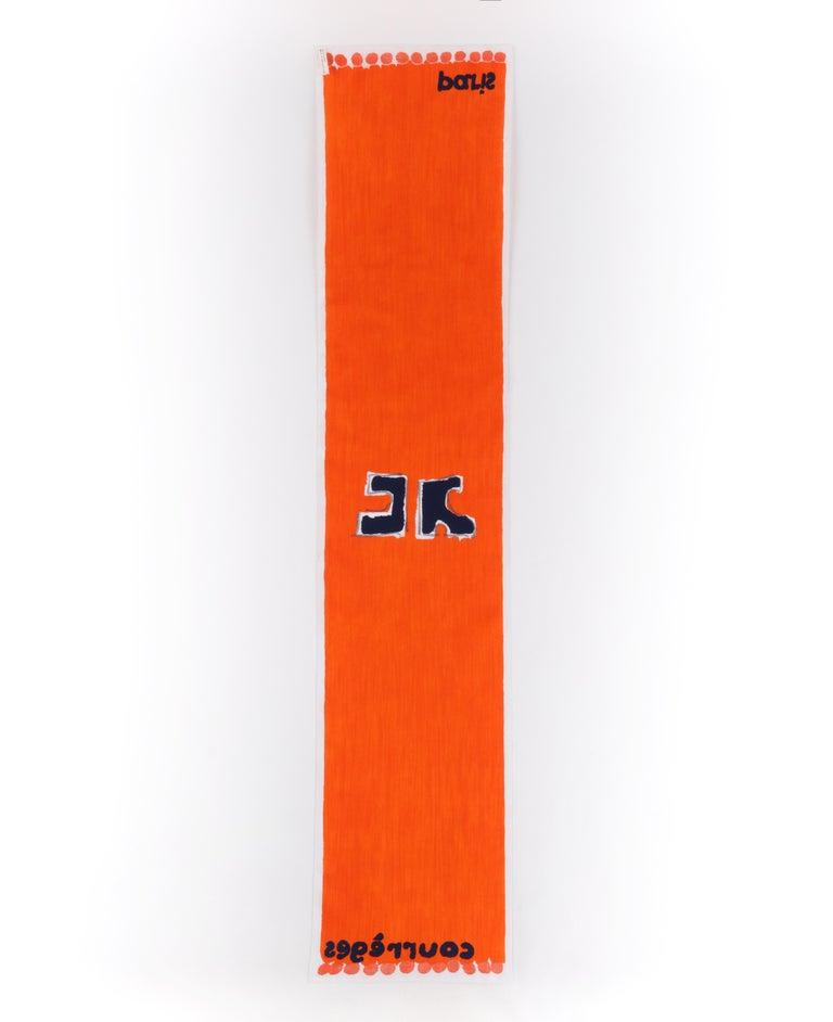 Red COURREGES c.1970s Trompe L'oeil Orange Blue Signature Logo Painted Oblong Scarf For Sale