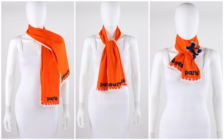 COURREGES c.1970s Trompe L'oeil Orange Blue Signature Logo Painted Oblong Scarf In Excellent Condition For Sale In Thiensville, WI