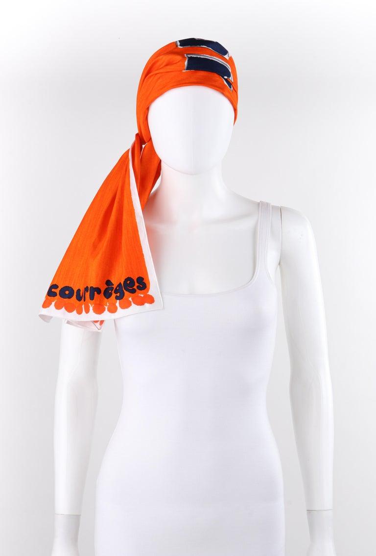 Women's COURREGES c.1970s Trompe L'oeil Orange Blue Signature Logo Painted Oblong Scarf For Sale