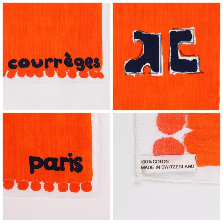 COURREGES c.1970s Trompe L'oeil Orange Blue Signature Logo Painted Oblong Scarf For Sale 2