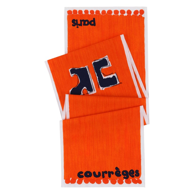 COURREGES c.1970s Trompe L'oeil Orange Blue Signature Logo Painted Oblong Scarf For Sale