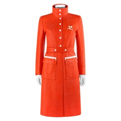 COURREGES c.1972 Orange Textured Vinyl Mod Signature Logo Trench Coat Jacket
