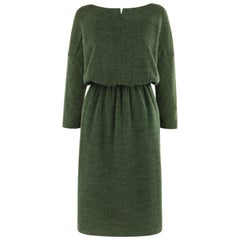 COURREGES c.1980's Forest Green Knit Long Sleeve Cinched Waist Midi Tunic Dress