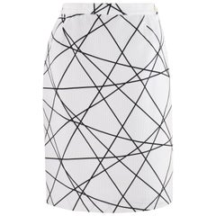 COURREGES c.1980's White Black Geometric Abstract Print Ribbed Sheath Skirt