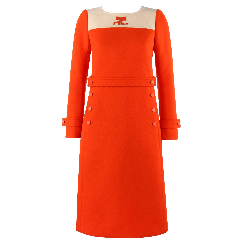 COURREGES Couture Future c.1960's Orange Mod Signature Logo Wool Sheath Dress