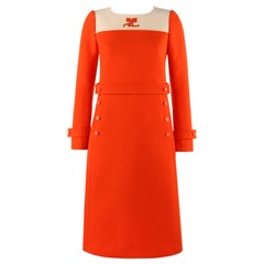 COURREGES Couture Future c.1960's Orange Mod Signature Logo Wool Sheath Dress
