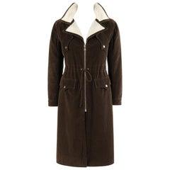 COURREGES Couture Future c.1970's Brown Corduroy Cinched Waist Long Coat Jacket