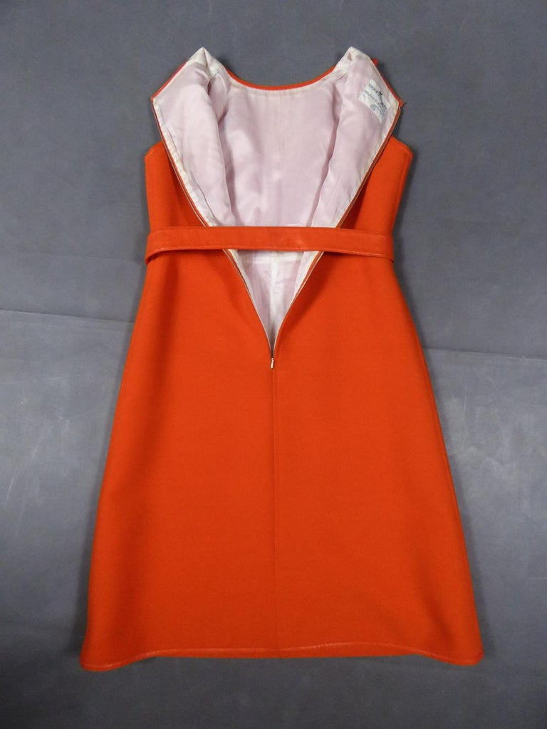 Red Courrèges Couture Future Dress numbered 0045426 Circa 1970/1972 For Sale