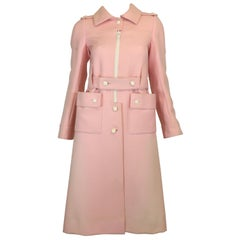 Courreges Couture Future Vintage 1970's Pink Structured Wool Coat