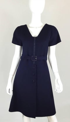 Courreges Couture Future Wool Belted A-Line Vintage Dress