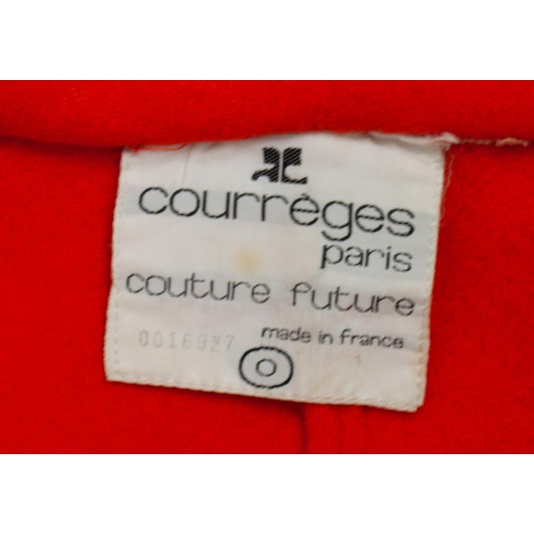 Courrèges Couture numbered military style wool coat. circa 1967 For Sale 6
