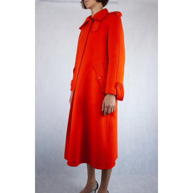 Women's  Courrèges Couture numbered military style wool coat. circa 1967 For Sale