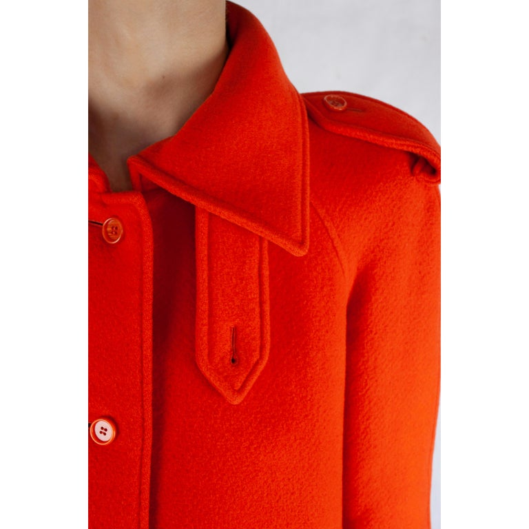 Courrèges Couture numbered military style wool coat. circa 1967 For Sale 4
