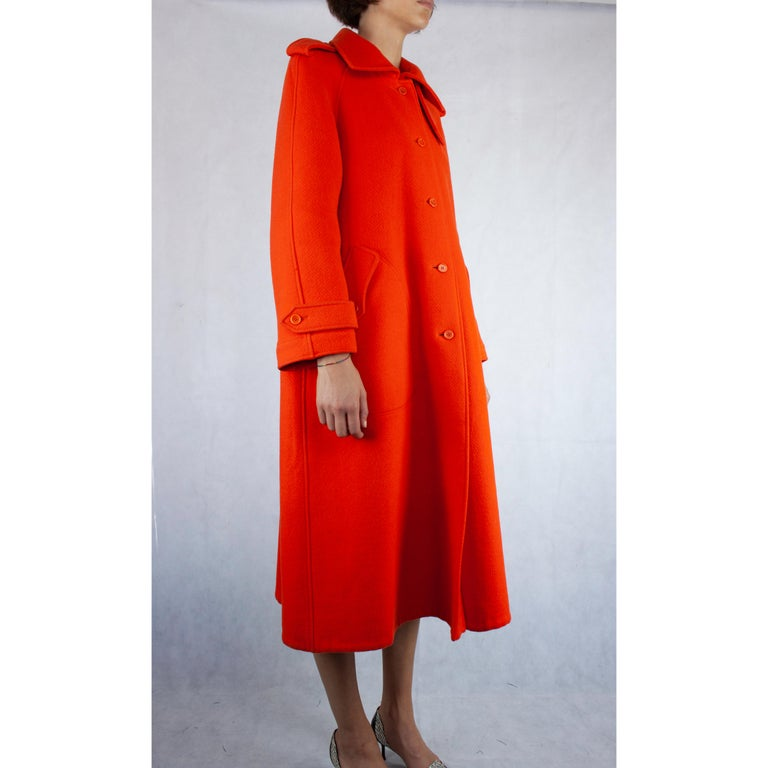 Red  Courrèges Couture wool coat. circa 1967 For Sale