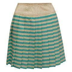 Courreges Cream & Turquoise Wool Pleated Skirt