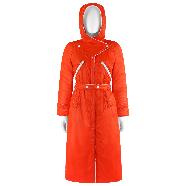 COURREGES Hyperbole c.1970's Orange Hooded Belted Full-Length Coat
