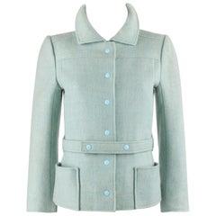 COURREGES Hyperbole c.1970's Sky Blue Snap Front Belted Jacket