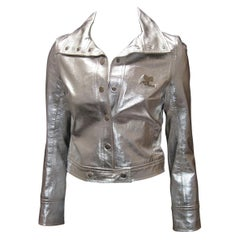 Courreges Iconic 1960's Metallic Silver Leather Logo Jacket