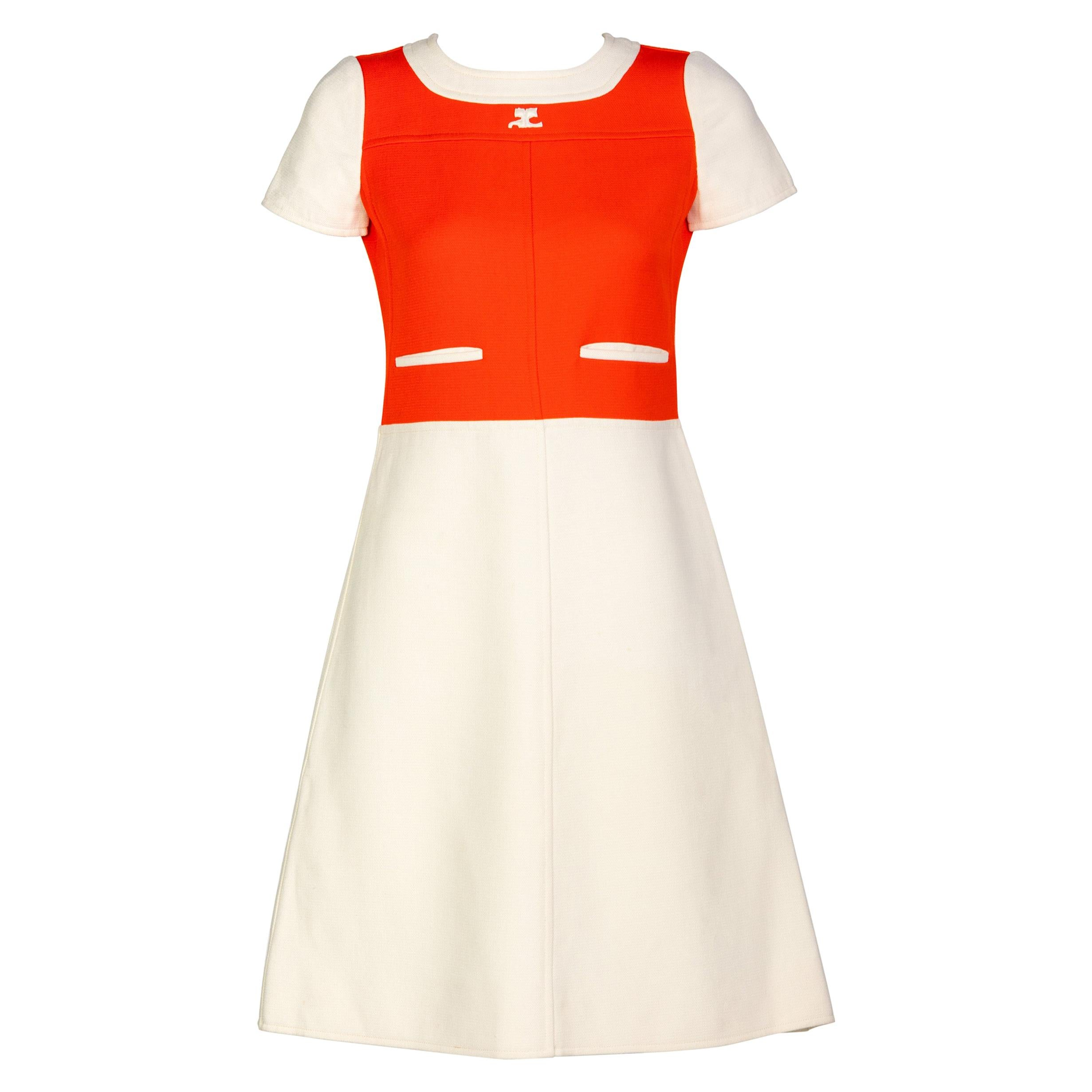 Courreges Numbered Couture Creme Orange Mod a Line Dress, 1960s