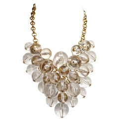Courreges Pale Gold Tone and Clear Lucite Cluster Balls Bib Statement Necklace