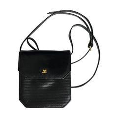 Courrèges Paris Bag Messenger Vintage Crossbody Black Leather