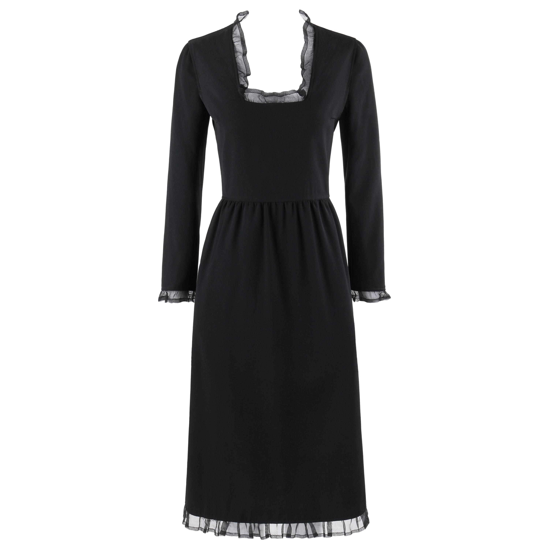 COURREGES Paris c.1970's Black Silk Ruffle Square Scoop Neck Midi Dress