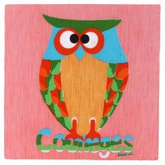 COURREGES Paris c.1970's Multicolor Popart Owl Signature Poplin Square Scarf