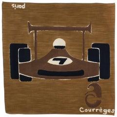 Courreges Paris Cotton Scarf Formula 1 Car in Brown and Black