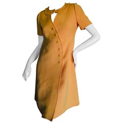 Courreges Paris Couture zukünftige Mod 1966 nummeriert Orange asymmetrisches Kleid