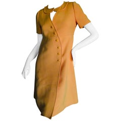 Courreges Paris Couture Future Mod 1966 Numbered Orange Asymmetrical Dress