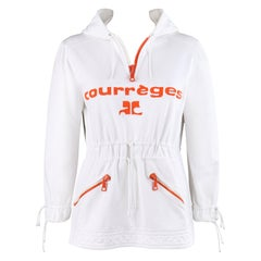 COURREGES Paris Hyperbole c.1970's White Embroidered Quarter Zip Pullover Hoodie