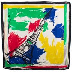 Courreges Paris Silk Scarf The Eiffel Tower in Multicolor Print